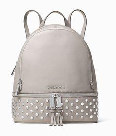 148ca4568c Michael Kors Rhea Zip Medium Studded Backpack Leather Pearl Gray Gunmetal