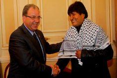 Presidente Evo Morales junto al palestino Jihad Khalil Al Wazir