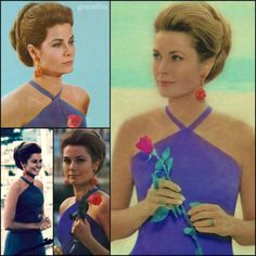 { 18 Favorite Fashion Moments for 1800 Followers } by gracefilmEvent: filming the documentary Monte Carlo: C'est La RoseYear: filmed 1967 / released 1968Wardrobe: purple (indigo?) halter dress by DiorHair/Accessories: full twist updo, large orange statement earrings, single pink roseComment: Why, why, WHY are there not more photos from this glorious shoot? (So many thanks go to my dearest Sheila for providing the scans on the right side and upper left-hand corner of this collage!)