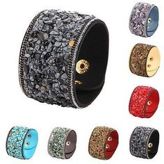 cool Fashion Women Natural Crystal Stone Bracelet Faux Leather Wrap Bangle Wristband - For Sale View more at http://shipperscentral.com/wp/product/fashion-women-natural-crystal-stone-bracelet-faux-leather-wrap-bangle-wristband-for-sale/
