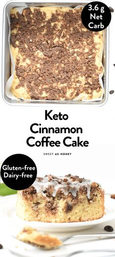Keto Recipes 56394 Keto Cinnamon Coffee Cake ~ streusel in the middle and on top, swirl into batter; while cooling, drizzle with vanilla glaze. Bon Dessert, Keto Dessert Easy, Dessert Recipes, Dinner Recipes, Cake Recipes, Low Carb Sweets, Low Carb Desserts, Low Carb Recipes, Low Carb Cakes