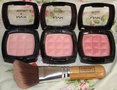 NYX powder blushes (from left to right) in Natural, Peach and Pinched - $4.95 each.
