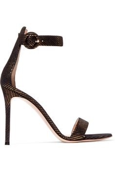 GABRIELLE'S AMAZING FANTASY CLOSET | Gianvito Rossi - Portofino 100 Black & Gold Pinstripe Jacquard Sandal. Heel measures approximately 100mm/ 4 inches | You can see the rest of the Outfit and my Remarks on this board. - Gabrielle