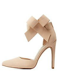 Qupid Ankle Bow Pointed Toe D'Orsay Pumps