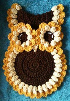 Crochet Beautiful Sunflower Owl Potholder by 3ThreadinBettys