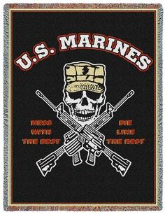 Personalized US Marines Mess With Best Military Tapestry Throw