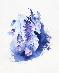 Bellflower dragon Art Print by AlviaAlcedo - X-Small Cute Dragon Tattoo, Cute Dragon Drawing, Dragon Sketch, Fantasy Drawings, Cool Art Drawings, Art Drawings Sketches, Mystical Animals, Mythical Creatures Art, Creature Drawings