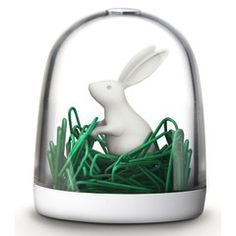 Paperclip Holder    Bunny in the field will make your desk dazzle! Bunny in snow globe. A hole on the top allows paperclips to shake out.  Also available in deer, polar bear, and swan. Made in Thailand.   $14.75 USD