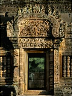 Finely Carved Doorway Within Temple of Banteay Srei, Founded in 967 AD, Angkor, Siem Reap. Richard Ashworth Photographer.