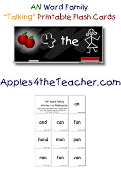 """Practice reading """"an"""" word family words with our talking flash cards. Click on the word to hear it spoken."""