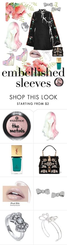 """Eye Catching"" by bluehatter ❤ liked on Polyvore featuring Attico, Yves Saint Laurent, Dolce&Gabbana, Mimi So, BERRICLE, Ted Baker and embellishedsleeves"