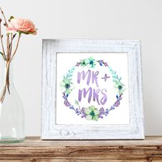 Mr and Mrs Wedding Art to Print - Gift for Newly Weds - Printable Wall Art - 8 x 10 - Digital -  Instant Download - Last Minute Gift Idea by DisfrutesPrints on Etsy