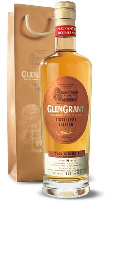 Glen Grant Distillery Edition aged 19 years.  A single malt whisky available only at the Glen Grant distillery in Rothes, Speyside, Scotland. The Distillery Edition perfectly encapsulates the smooth, velvety taste for which Glen Grant is famed for.