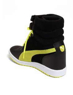 9d2df212a27 Puma wedge sneaker black yellow Nordstrom Sale   45!!! Want it now