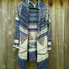 Aztec Blue Tribal Cardigan Adorable open front lightweight hooded long cardigan. 88% cotton 12% acrylic.  Draped open front Tribal print cardigan. Nwot. Attached hood  FABRIC & CARE Cotton, acrylic Machine wash Imported Mudd Sweaters Cardigans