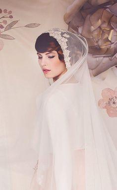 Wedding Veil Juliet cap Bridal Veil lace veil by gadegaarddesign