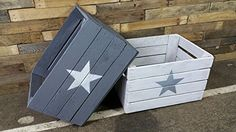 Set of 2Old Wooden Wine Crates-Fruit Crate White and Grey with Star