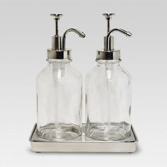 <img> Double Soap Pump Oil Can Clear – Threshold™ : Target - Under Kitchen Sink Organization, Under Kitchen Sinks, Organization Station, Kitchen Soap Dispenser, Soap Dispensers, Simple Bathroom, Master Bathroom, Bathroom Ideas, Bathroom Jars