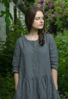 Grey Linen Long Dress by KnockKnockLinen on Etsy