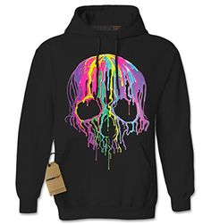 Expression Tees Neon Drippping Skull Blacklight Reactive Unisex Adult Hoodie