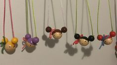 Some of my wooden bead doll necklaces made for the Christmas school market