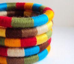Yarn wrapped bangles. Fav.