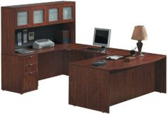 U Shaped Desk with Hutch GLA059 by Office Source. $1287.00. 2 box drawers and 1 file drawer. Available in Mahogany, Cherry, Honey, Maple, Modern Walnut or Espresso. Ships ready for easy assembly. File drawer accommodates letter and legal files. Durable laminate finish. U Shaped Desk with HutchbyOffice Source Trusted: 20+ Years Experience. Overall: 71 in W x 112.5 in D x 65 in H ,