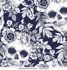 Vector seamless background. Wreaths of garden flowers and skulls. Roses, peonies. Design for fabrics, textiles, paper, wallpaper, web. Retro. Vintage style. Floral ornament. Black and white.
