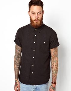 Image 1 of ASOS Shirt In Short Sleeve With Linen Mix