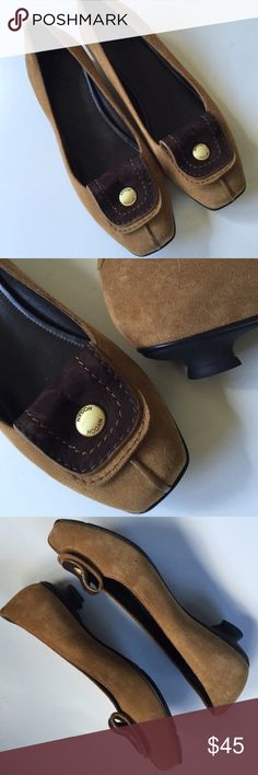 EUC Hogan leather shoes New without tags; Gorgeous tan sueded leather with brown flap and brushed gold Hogan accent. This is an expensive Italian contemporary brand. Gorgeous quality! Smoke-free/pet-free home. Hogan Shoes