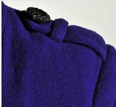 Elegant Gothic Double Breasted Gauze Trimming Purple Coat
