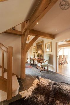 Green oak frame interior spaces