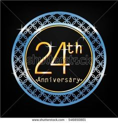 black background and blue circle 24th anniversary for business and various event
