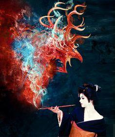 Smoking Geisha by sidiator