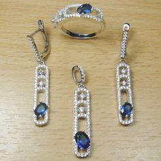 Micro Setting Oval Cut Blue White CZ 925 Sterling Silver Jewelry Set