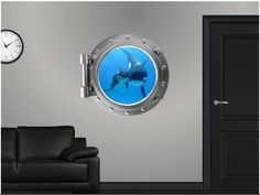 Portscape Sea Window Instant Porthole View Killer Whale and Cub 1 Wall Graphic Decal Sticker Mural Home Room Art Decor NEW Wall Stickers Murals, Wall Decal Sticker, Wall Murals, Decals, Wall Vinyl, Wall Hangings, Ocean Themed Rooms, Ocean Room, Ocean Art