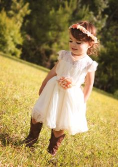 Ivory Lace Girl's Dress with hand crafted lace flower sash/Cottage Chic/Shabby Chic/Wedding/Flower Girl/Photo Prop by MarryMeGirlBoutique on Etsy https://www.etsy.com/listing/194363412/ivory-lace-girls-dress-with-hand-crafted
