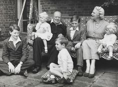 Family man: Sir Winston Churchill is pictured with his family at Chartwell House, Kent, in 1951, the year he won re-election as Prime Minister