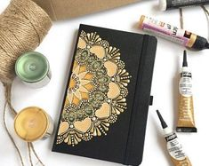Excited to share this item from my shop: Personalized hardcover mandala notebook Black grid undated diary Gift for sister Yoga teacher gift Original dot art Sacred geometry Mandala Art, Mandala Drawing, Mandala Painting, Quilling Letters, Diary Book, Free To Use Images, Dot Art Painting, Ribbon Bookmarks, Shades Of Gold
