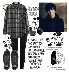 """S.R"" by xxonyx-lightwaterxx ❤ liked on Polyvore featuring Love Quotes Scarves, River Island and Vans"