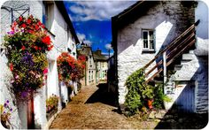 Wordsworth Street in the picturesque village of Hawkshead, Cumbria, England.
