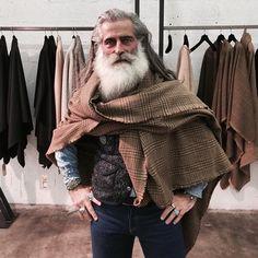Angelo Gallamini - full thick fluffy white beard and mustache beards bearded man men mens' style older mature long hair silver fox #beardsforever