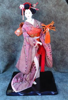 "Vintage 22"" Porcelain Geisha Doll Glass Eyes Silk Kimono Wood Base"