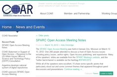 COAR's notes from the 2012 SPARC Open Access Meeting