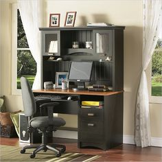 South Shore Gascony Collection Computer Desk with Hutch in Ebony - 7378-PKG