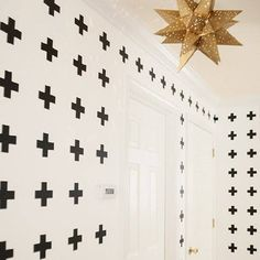 DIY Black & White Cross Hallway