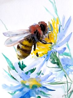 Bee Original watercolor painting 12 X 9 in honey by ORIGINALONLY