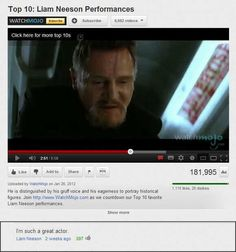 Image of: Tumblr Funny Comment On Liam Neeson Video By Peter Stelter Best Youtube Comments Pinterest 11 Best Best Youtube Comments Images Funny Youtube Comments