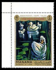 Stamp from Manama - Hans Christian Andersen's The Ugly Duckling