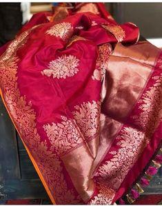 Red Saree Wedding, Indian Bridal Sarees, Wedding Silk Saree, Indian Silk Sarees, Silk Saree Banarasi, Kanchipuram Saree, Organza Saree, Bengali Bride, Wedding Saree Collection